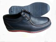 Ботинки мужские синие кожаные комфортные на цветной подошве. Недорого.