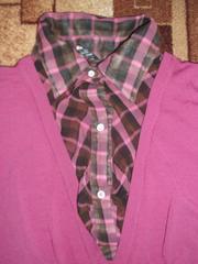 Продам комбинированный джемпер-блузу б/у