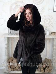 Женский норковый полушубок с капюшоном 46 48 размеры
