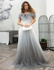 Нарядное вечернее платье в пол с переливами